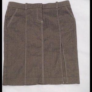 Bebe Pencil Black Cream Skirt w/front side slit.